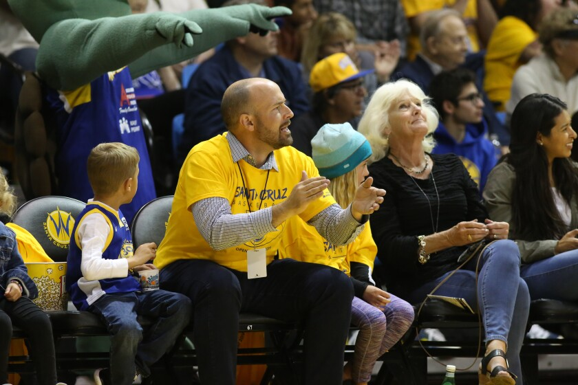 Santa Cruz Warriors team president Chris Murphy with his kids before the 2019-20 season shut down.
